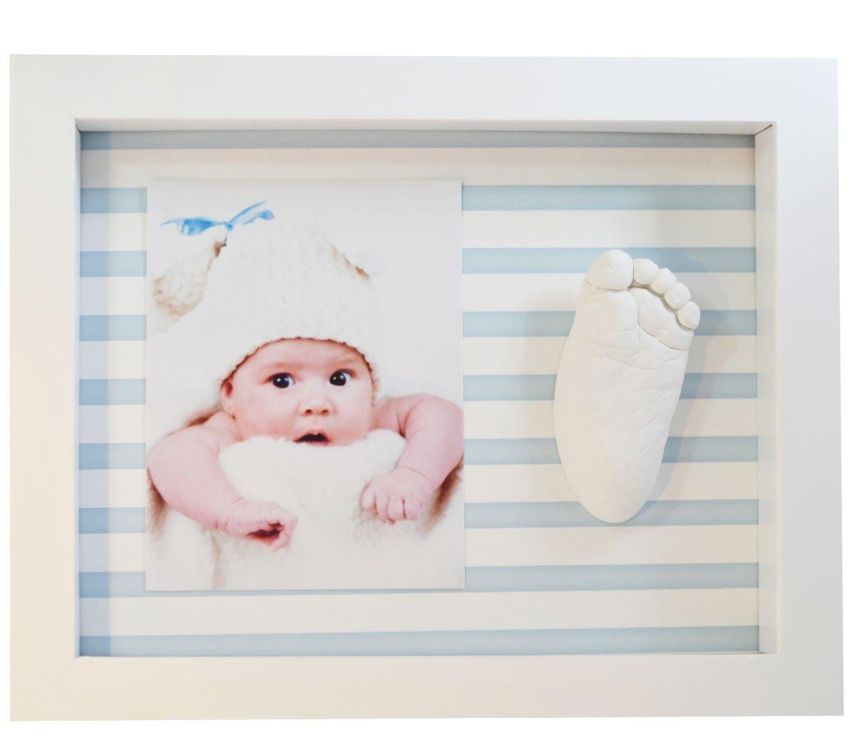 Rahmen für Foto und Baby-Fußabdruck in 3D - Blauen Streifen ...