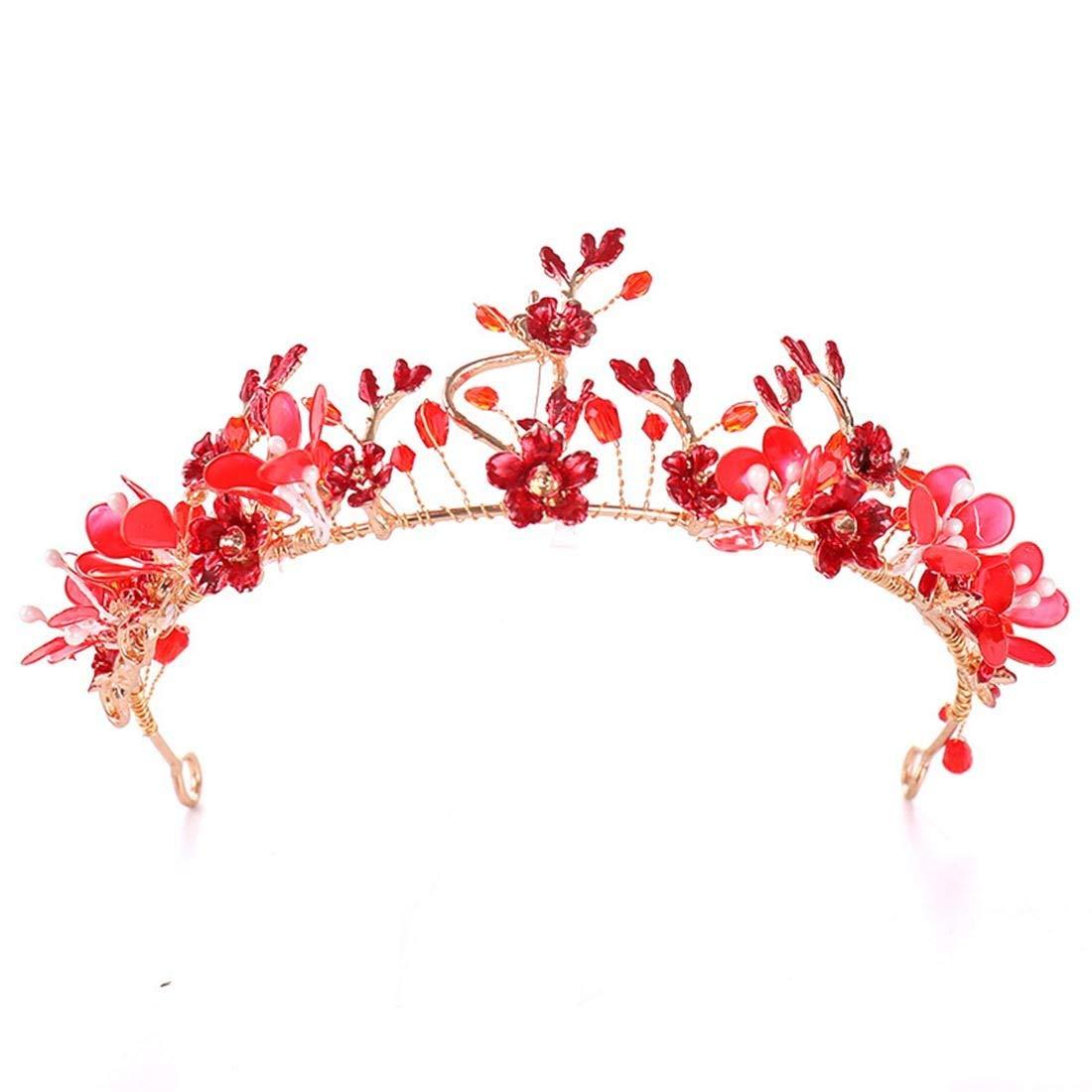 JIAJ Tiaras Crown Red Flower Wedding Party Festival Crown Accessory Banquet Show Headdress (Color : Red) by JIAJ