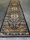 Traditional Long Runner 500,000 Point Area Rug Persian Dark Brown Design 401 (32 Inch X 10 Feet)