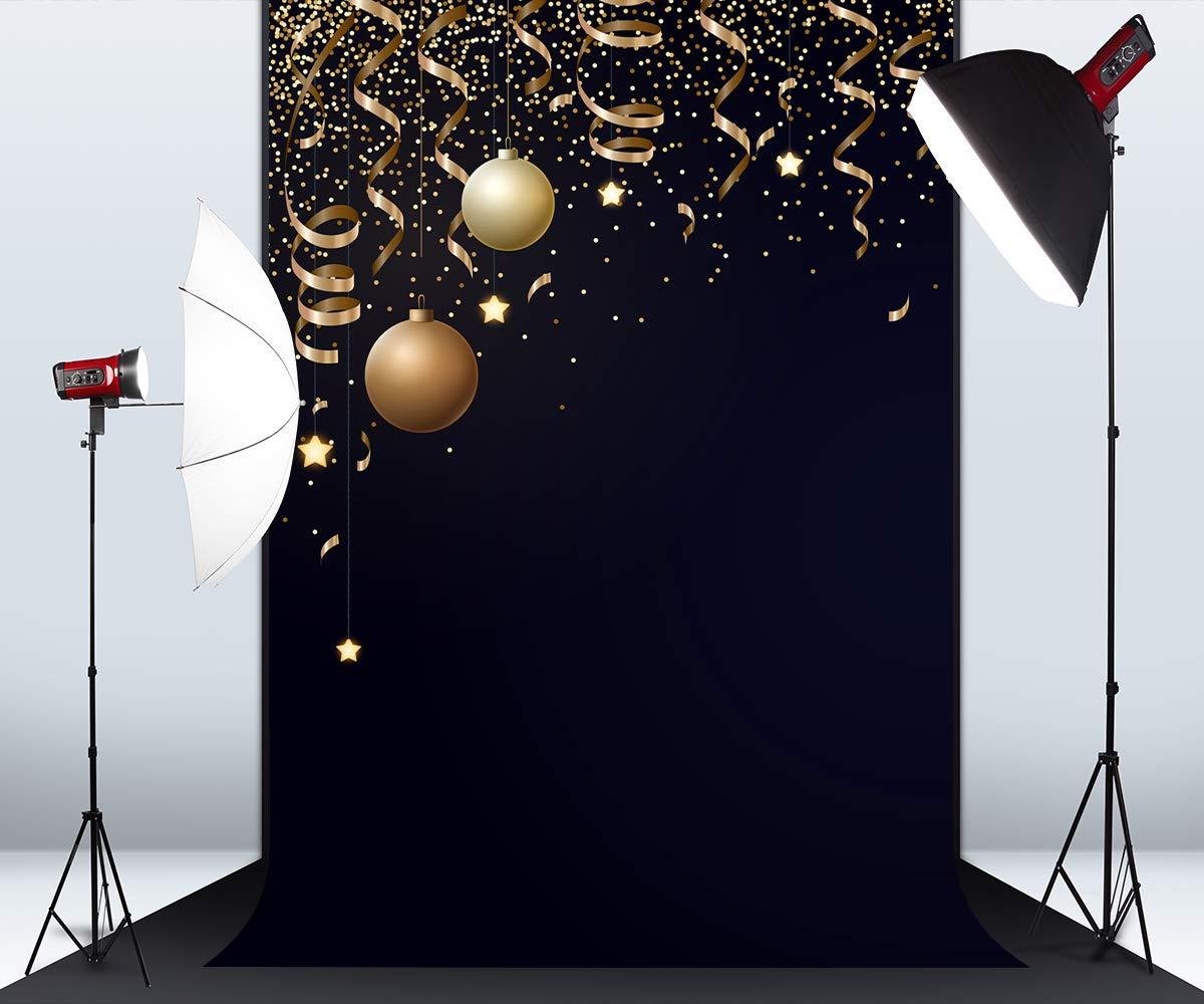 5フィート x 7フィート クリスマス ゴールドボール ブラック マイクロファイバー 写真撮影用背景 写真ブーススタジオ ハッピーニューイヤー ウェディングパーティー ショット背景用小道具   B07J9R8VVS