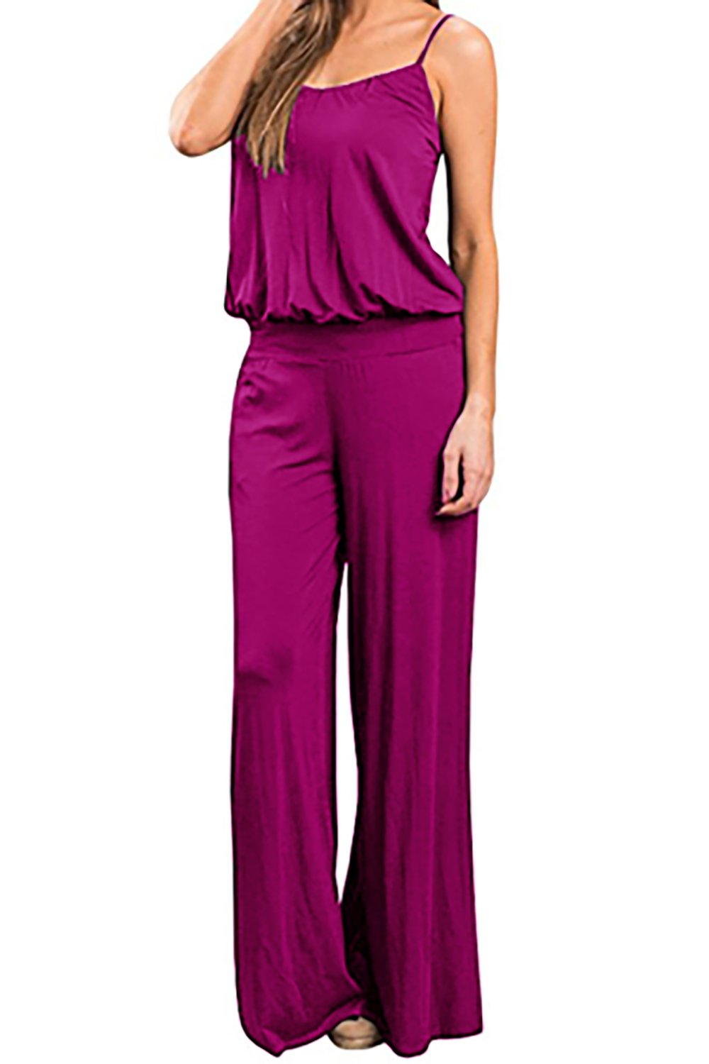 Womens Jumpsuits Wide Leg Cotton Loose Sleeveless Strap Elastic Waistband Jumpsuit Rompers (Small, Rose)