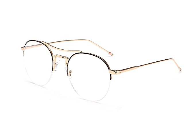 Amazon.com: FEISEDY Pure Round Metal Half Frame Glasses Clear Lens ...
