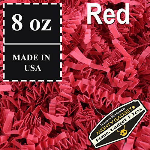 (Mighty Gadget (R) 1/2 LB Red Crinkle Cut Paper Shred Filler for Gift Wrapping & Basket Filling)