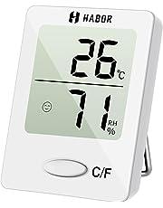 Habor Igrometro Termometro Digitale Termoigrometro LCD con l'Icona di comforto Termometro Ambiente Interni Rilevatore di umidità per Ambienti Misura Temperatura & umidità per Serra, Stanza Bianco