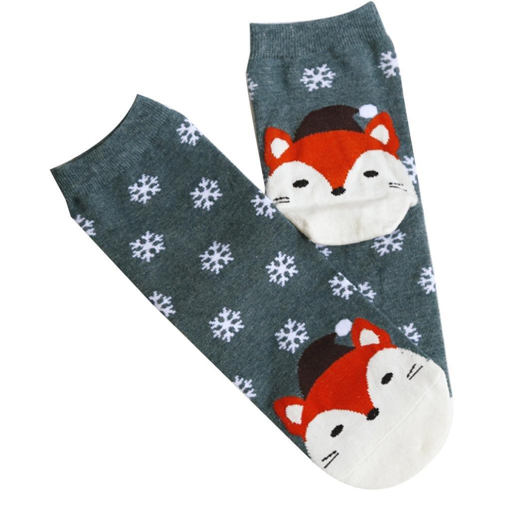 Clearance! Paymenow Women Christmas Socks Winter Warm Cozy Socks Casual Cute Unisex Socks (Green)