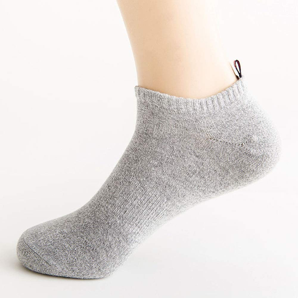 Men's Light Grey Spring and Summer Men and Women Cloth Sports Boat Socks Solid color Cotton Couple Socks -20 Pairs Men's Socks,Fully Breathable
