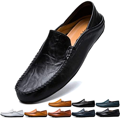 20be2d00d397b1 Jusefu Penny Loafers Mens Moccasin Driving Shoes Slip On Flats Leather  Casual Dress Boat Shoes Fashion