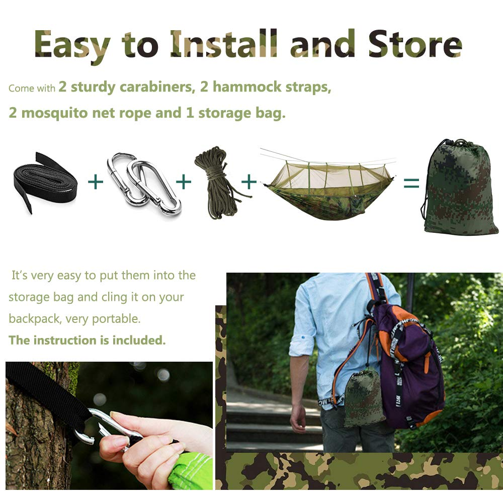 Portable /& Lightweight for Tree Yard Backpacking Travel Hiking Outdoor Sleeping Hammock with Mosquito Net UCEC Camping Hammock