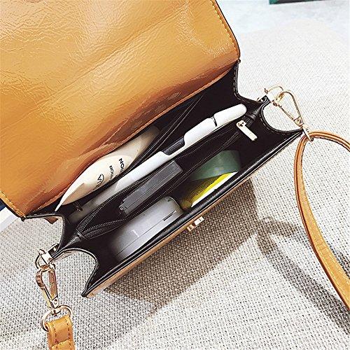 à en rétro Sac Xuanbao carré Sacs bandoulière Bouton Messenger Brun à Portefeuille bandoulière à Simple Cuir PU bandoulière Sac magnétique 0x5q6
