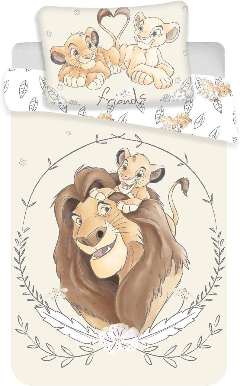 Disney - Juego de cama (100% algodón, 100 x 135 cm), diseño del Rey León Simba Mufasa