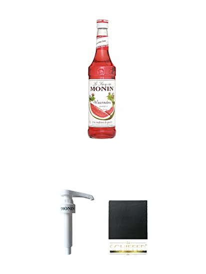 Monin Wassermelone Sirup 0,7 Liter + Monin Dosier Pumpe für 0,7 & 1,0 Literflasche + Schiefer Glasuntersetzer eckig ca. 9,5 c