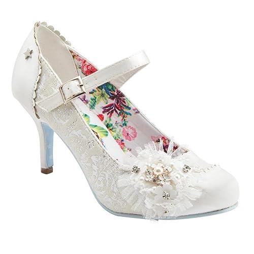 c9e19e35308 Joe Browns Hitched Vintage Ivory Lace Bridal Shoes  Amazon.co.uk ...