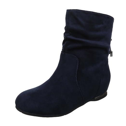 Damen Stiefeletten Stiefel Boots Flache Schlupfstiefel Schuhe JA313 (36,  Blau)