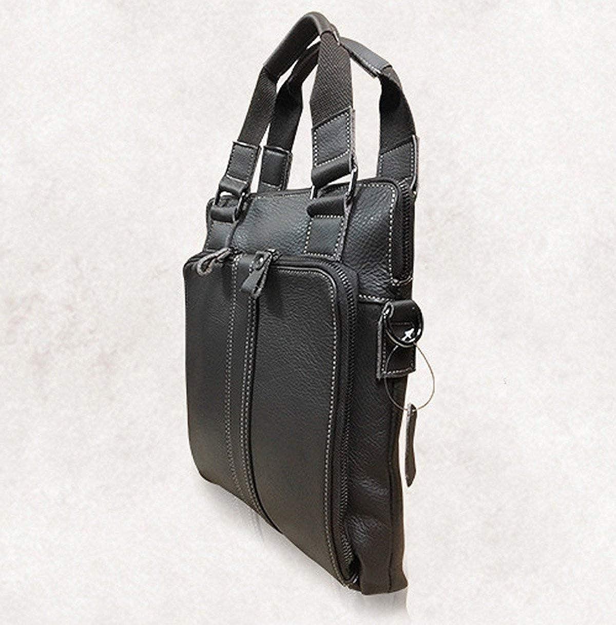 FYH Men Fashion Essential Quality Composite Leather Business Casual Bag Square Bag Black Handbag