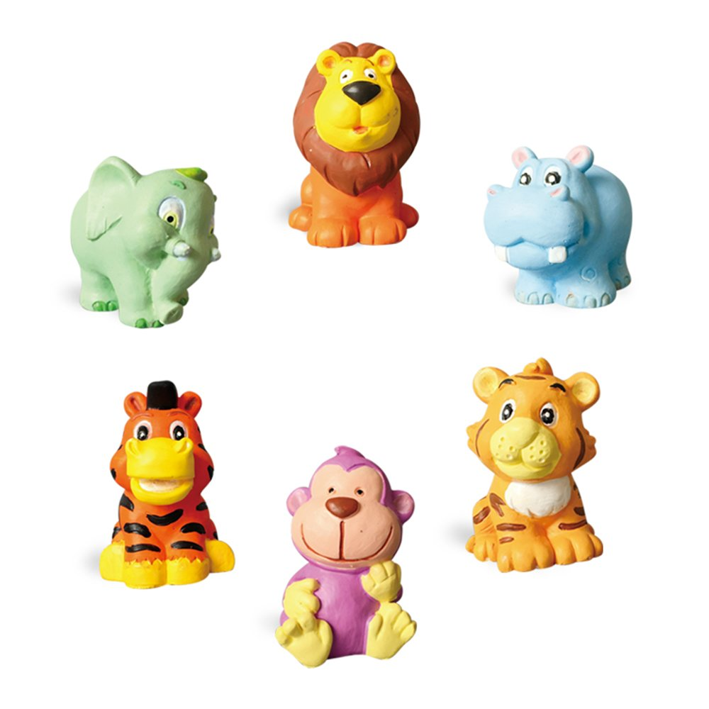 Hilou Paint Your Own Animal Figurines (Elephant, hippopotamus, lion, tiger and monkey)