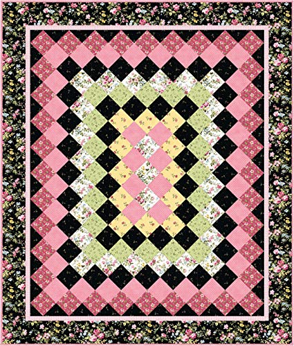 Marti Michell Wild Rose Flannel Evening Rose Quilt Kit Maywood Studio - Maywood Flannel Quilt Fabric