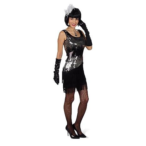 Disfraz de charlestón sexy Liza - minivestido de fiesta con lentejuelas, glamuroso, negro con