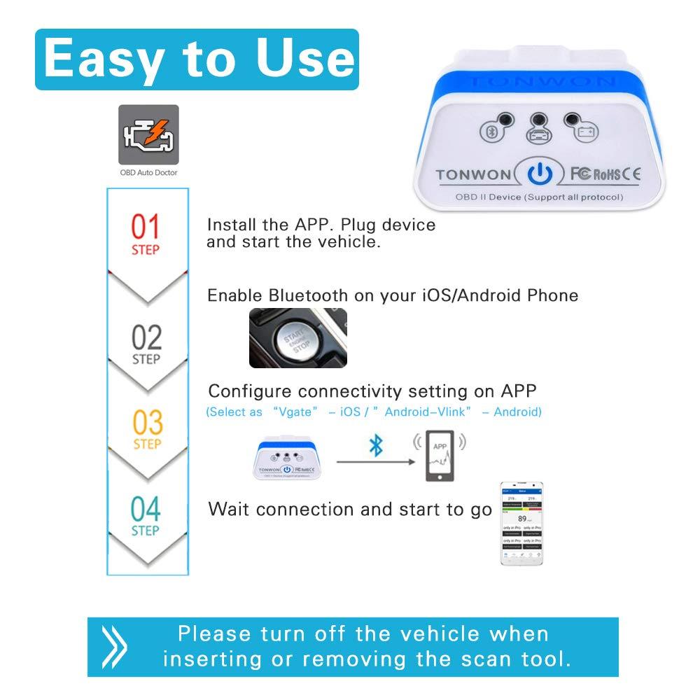 TONWON OBD2 Scanner OBDII Bluetooth Scan Tool Car Fault Code