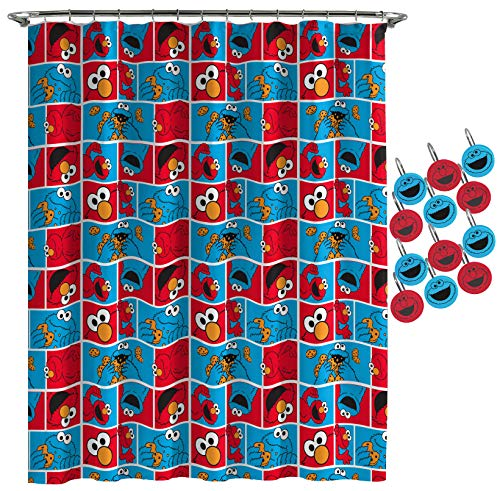 (Jay Franco Sesame Street Elmo Cookie Squares Shower Curtain & 12-Piece Hook Set & Easy Use - Kids Bath Features Elmo & Cokie Monster (Official Sesame Street Product))