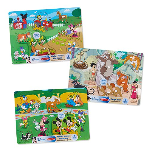 Doug Pets Peg Puzzle - Melissa & Doug Wooden Peg Jungle Book/Farm/Pets Puzzle (8 Piece)