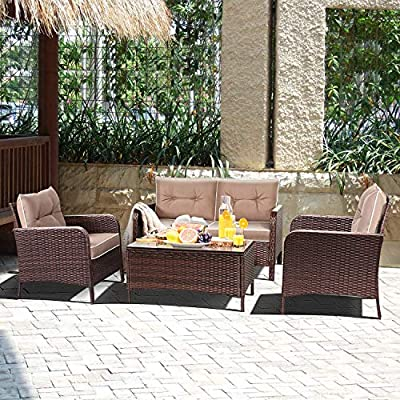 Tangkula 4 PCS Patio Furniture Set, Outdoor Rattan Wicker Sofa Comfortable Cushioned Seat, Garden Lawn Sectional Conversation Set with Glass Top Coffee Table