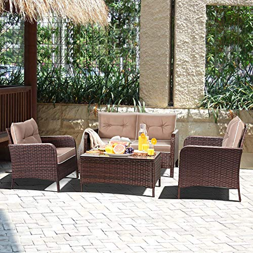 Tangkula 4 PCS Patio Furniture Outdoor Rattan Wicker Sofa Comfortable Cushioned Seat Garden Lawn Sectional Conversation Set with Glass Top Coffee Table (Coffee Cushion)