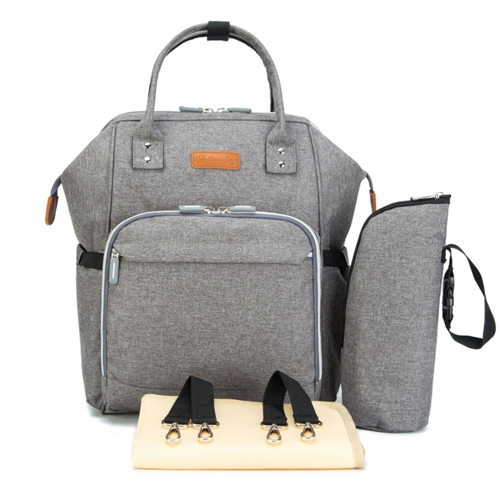 Multi-Function Backpack Waterproof Travel Backpack Nappy Bag Fashion Mummy& Daddy Bag(Grey)