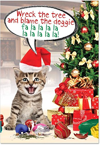 12 Boxed 'Blame the Doggie' Christmas Cards w/Envelopes 4.63 x 6.75 inch, Happy Holidays with Funny Silly Kitty in Santa Hat Christmas Note, Cute Cat under the Christmas Tree Holiday Notes B1910