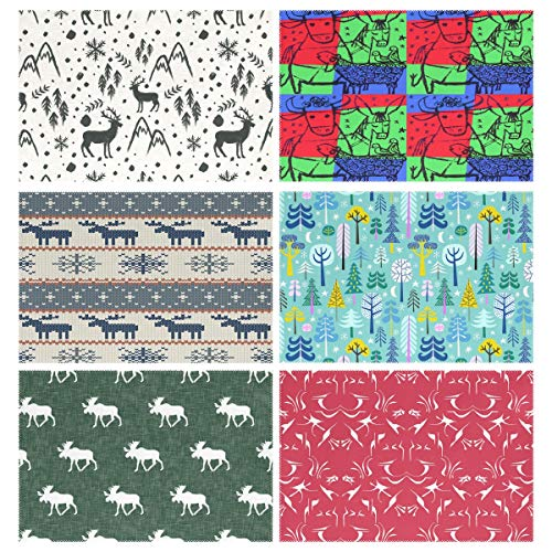 Placemats Set of 6, Winter Painted Deer Stars Bulls Cows Donkeys Lambs Sheep Doves Birds Colorful Pop Art Animals Moose Christmas Sweater Moonlight Forest Turquoise Green Red Dining Table Mats for -