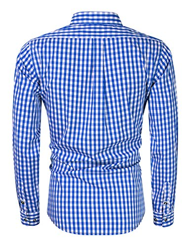 GloryStar Men's Casual Classics Oktoberfest costumes Turn-down Collar Long Sleeve Check Shirt Blue and White Checked XXL by GloryStar (Image #2)