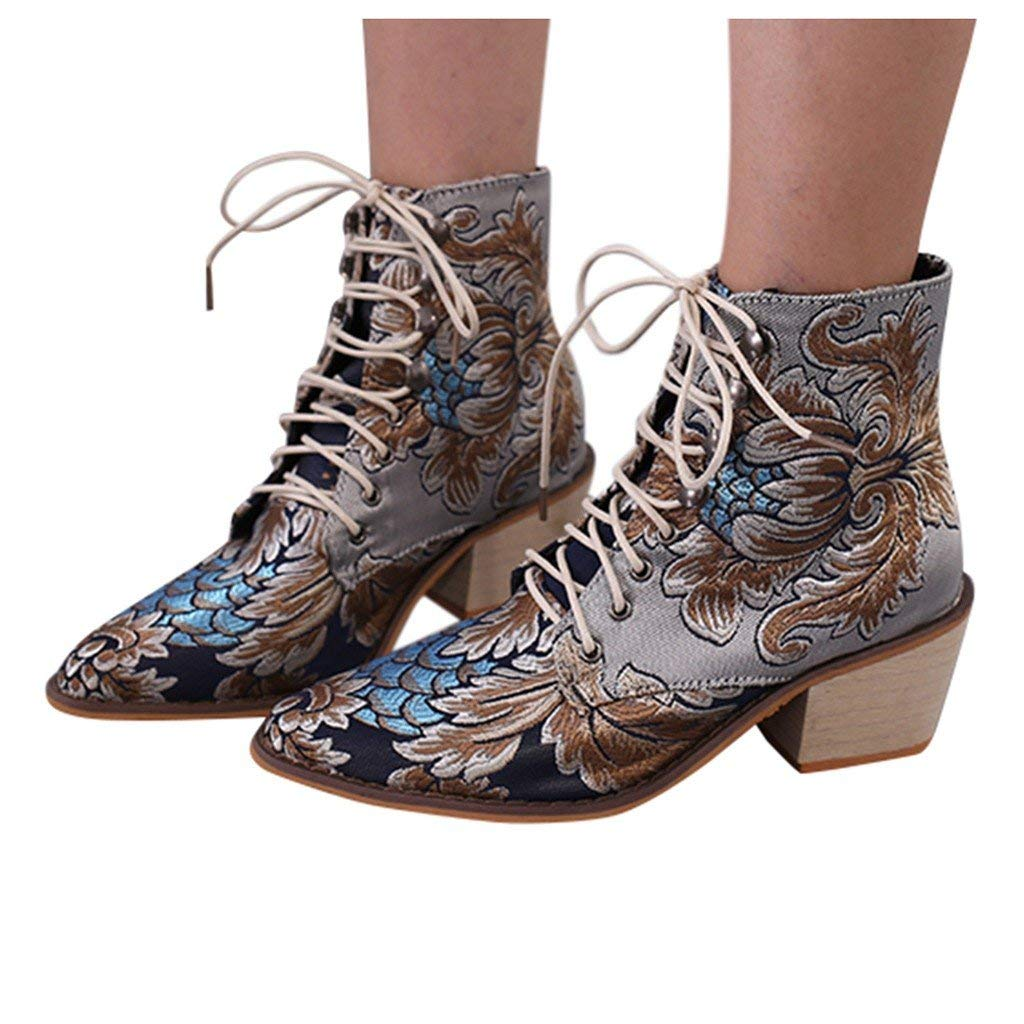 Veodhekai Women Low Heel Roman Shoes Retro Square Heels Cloth Embroidery Boots Lace-Up Boots Pointed Toe Shoes Blue by Veodhekai