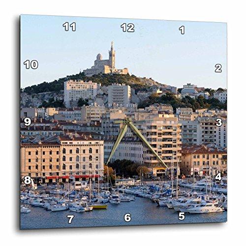 Notre Dame Port - 3D Rose France - Marseille. Vieux-Port with Basilique Notre Dame de la Garde Wall Clock, 10
