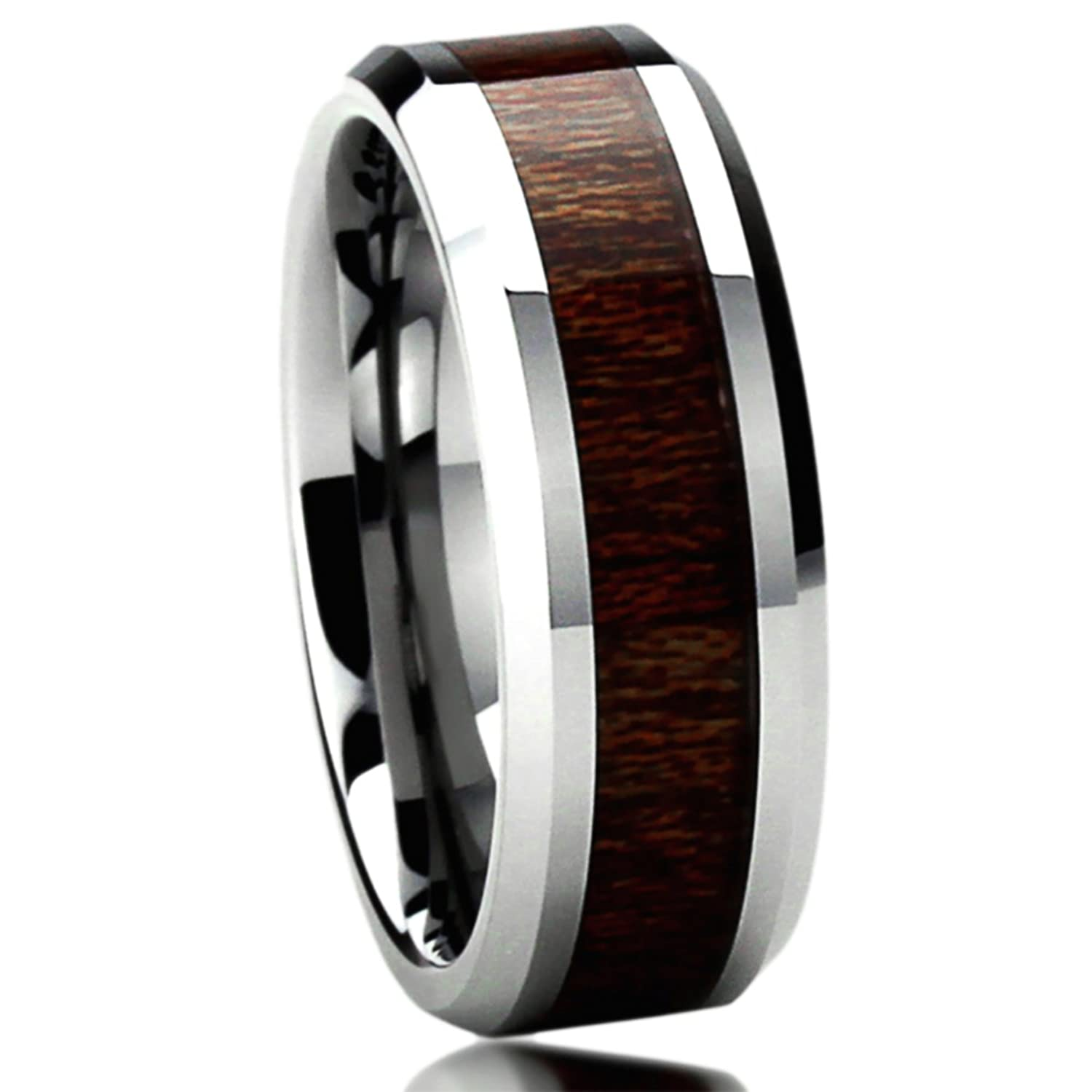 8MM Titanium Mens Womens Rings Wood Grain Inlay fort Fit