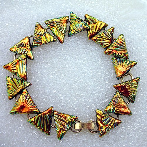 - Triangle Bracelet, Dichroic Fused Glass Bracelet in Sparkling Golden Triangles, 16 Links in 7 1/4