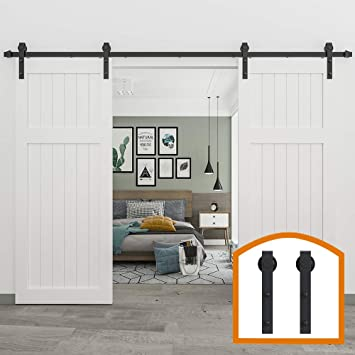 Amazon Com Zekoo 14 Ft Rustic Sliding Wood Barn Door Rolling Antique Hardware Flat Tracks Double Doors Kit Home Improvement