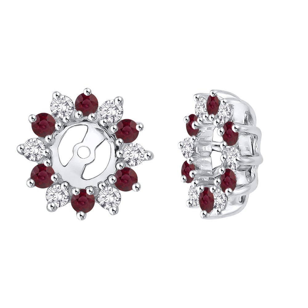 Alternating Diamond with Ruby Earring Jackets in 14K White Gold (5/8 cttw) (Color IJ, Clarity I1)