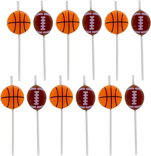 Basketball Candles 6 Pack Sport Cake Cupcake Party Supplies