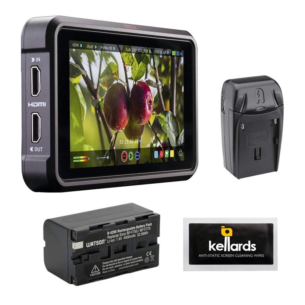 Atomos Ninja V 5'' 4K HDMI Recording Monitor with NP-F770 Lithium-Ion Battery Pack, Compact AC/DC Charger & Screen Cleaning Wipes by Atomos
