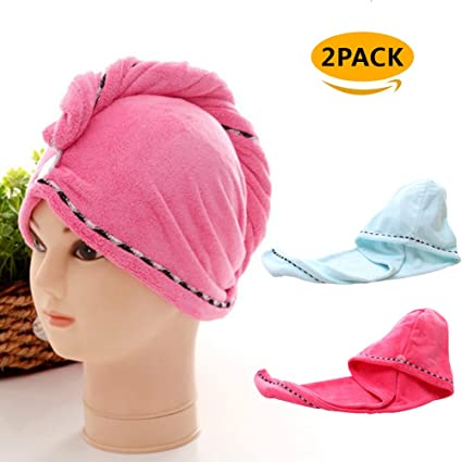 2 toallas para el pelo con toalla seca de microfibra para el baño y la ducha