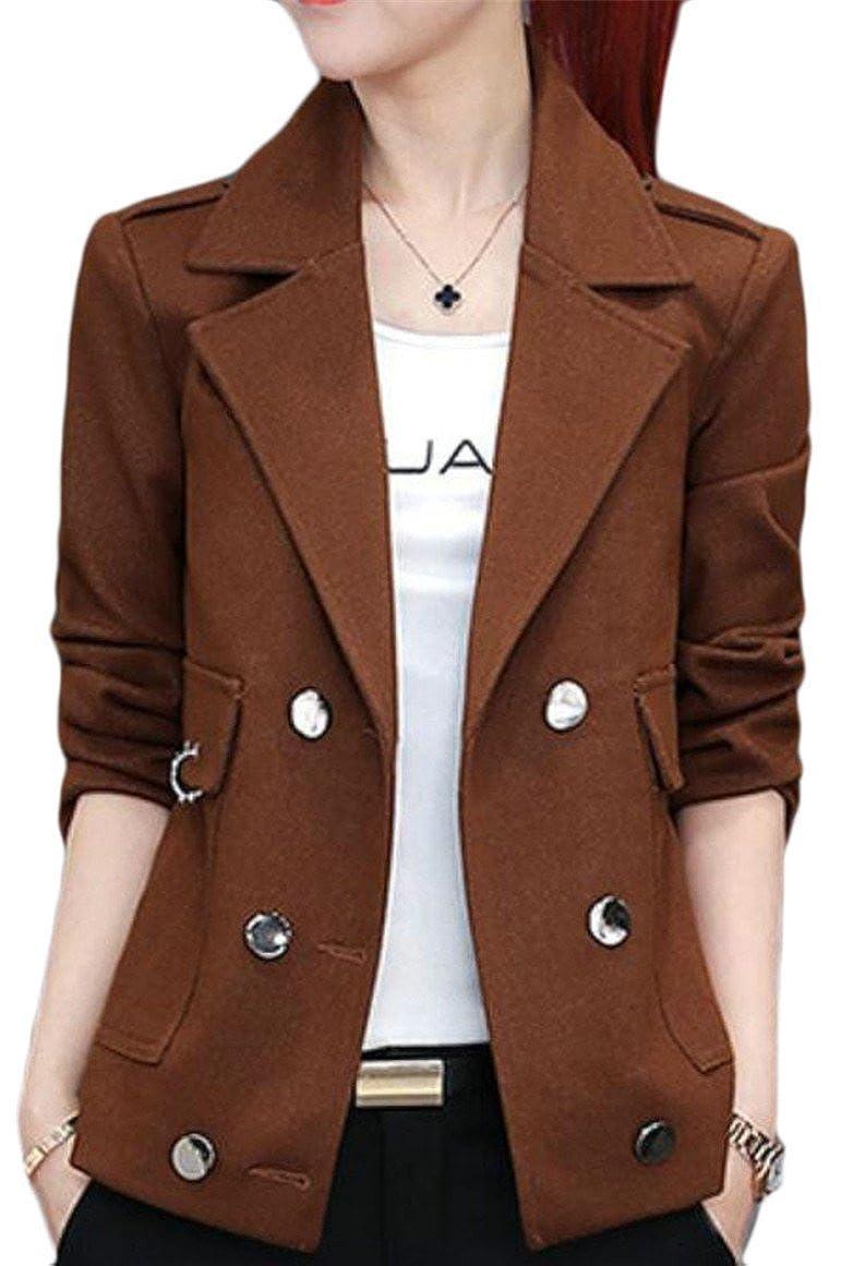 2 GAGA Women's Lapel Slim Fit Cotton Solid color Blazer Jacket Coat