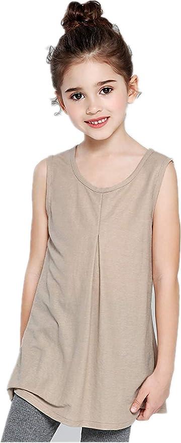 Camisa sin Mangas de Color sólido de Moda para niñas Falda de Chaleco Informal antimosquitos de algodón: Amazon.es: Ropa y accesorios