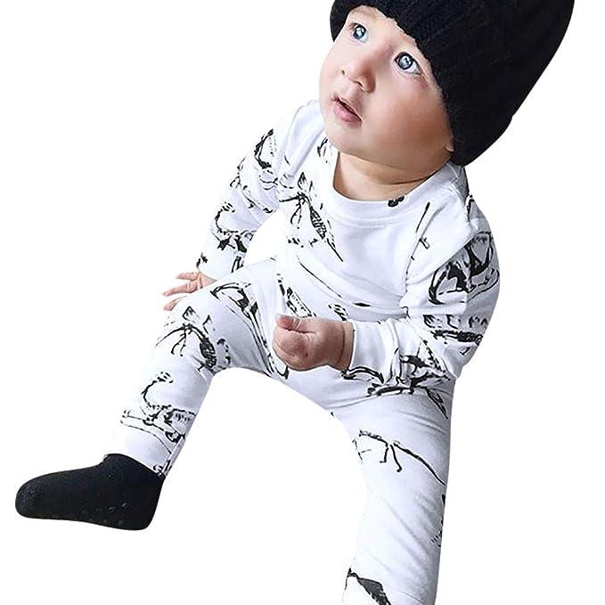 LANSKIRT Ropa de Trajes de Recién Nacido Infantil bebé niños niñas Impresión de Dinosaurio de Manga Larga Camiseta Superior Pantalones Traje Invierno Mono ...