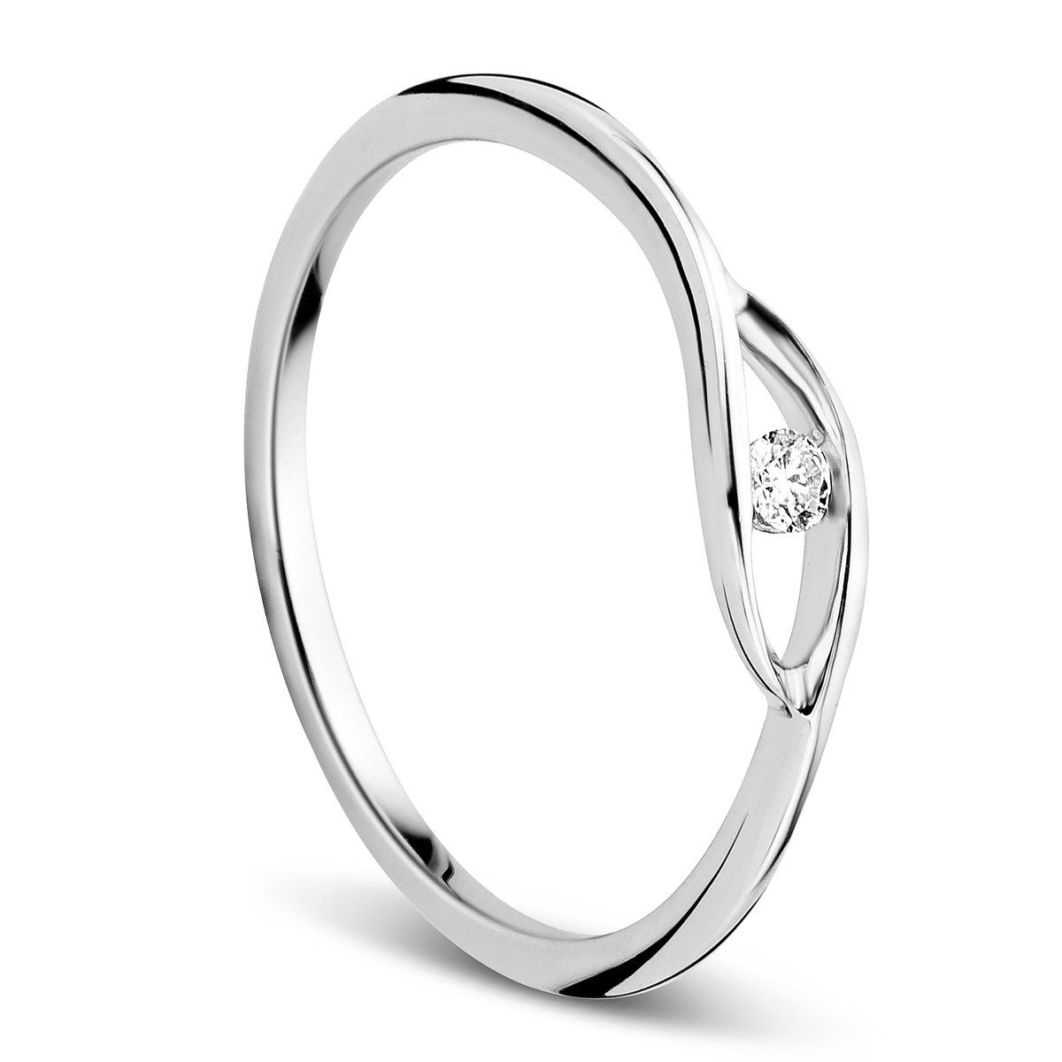 Orovi Women S Ring White Gold 9 Carat 375 Gold Solitaire