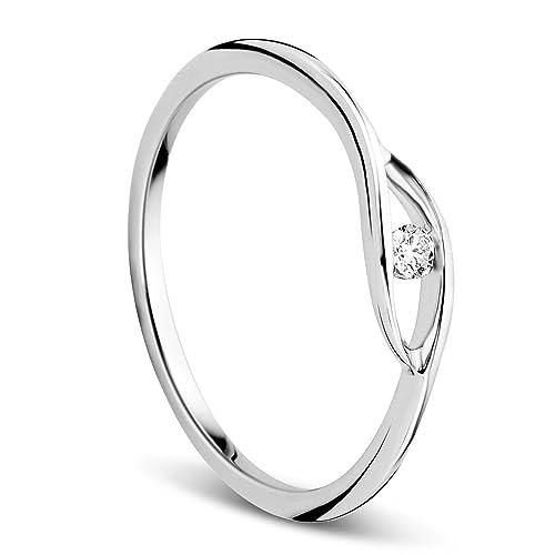 online in vendita top design immagini dettagliate Orovi anello per donna, gioiello in oro bianco 9 KT/375 ...