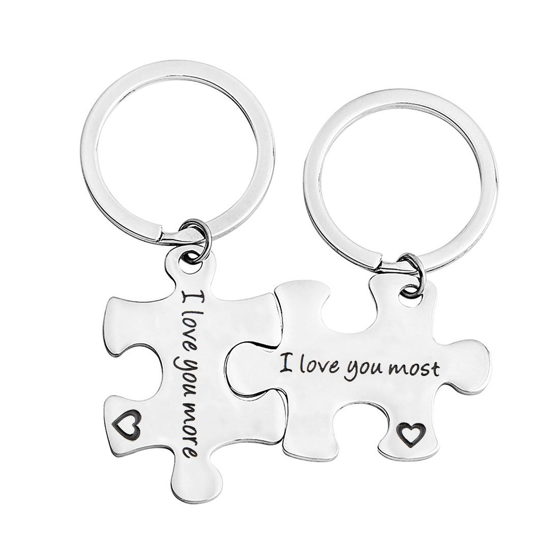 bobauna Stainless Steel I Love You More I Love You Most Puzzle Piece Keychain Set for Couples Mother Daughter (I love you more most)