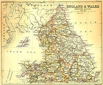 Amazoncom ENGLAND WALES North Bartholomew Walker Old - Vintage maps uk