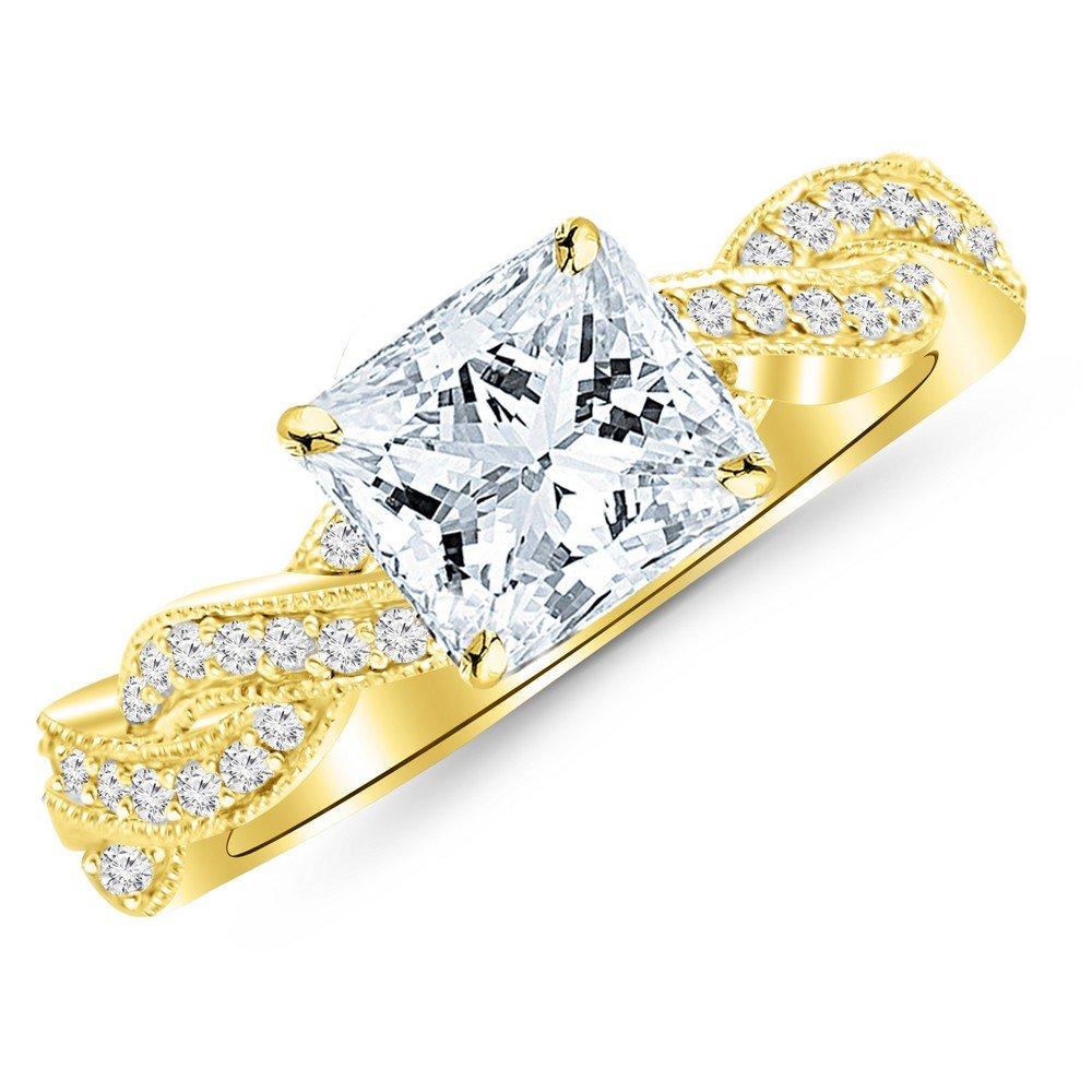 0.88 Cttw 14K Yellow Gold Princess Cut Vintage Eternity Love Twisting Split Shank Diamond Engagement Ring With Milgrain with a 0.6 Carat D-E Color VS1-VS2 Clarity Center