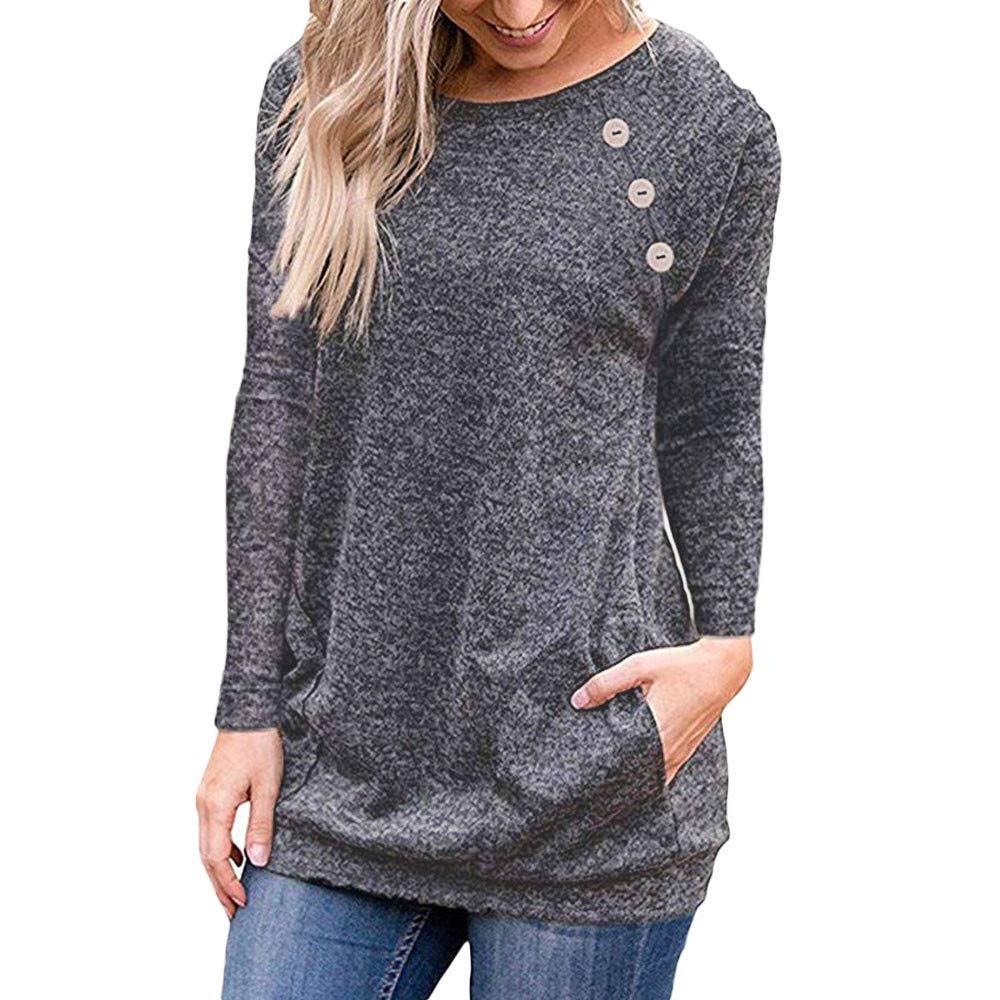 Rambling Women's Round Neck Sweatshirt Pocket Pullover Long Sleeve T Shirts Loose Tunic Tops Button Decor