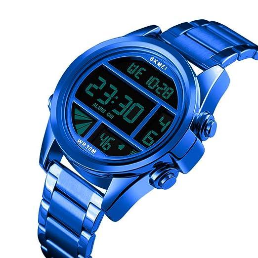 Reloj Digital para Hombre Reloj de Pulsera de Acero Inoxidable Banda luz de Fondo Deportivo Impermeable Movimiento electrónico Reloj Casual para Hombres: ...