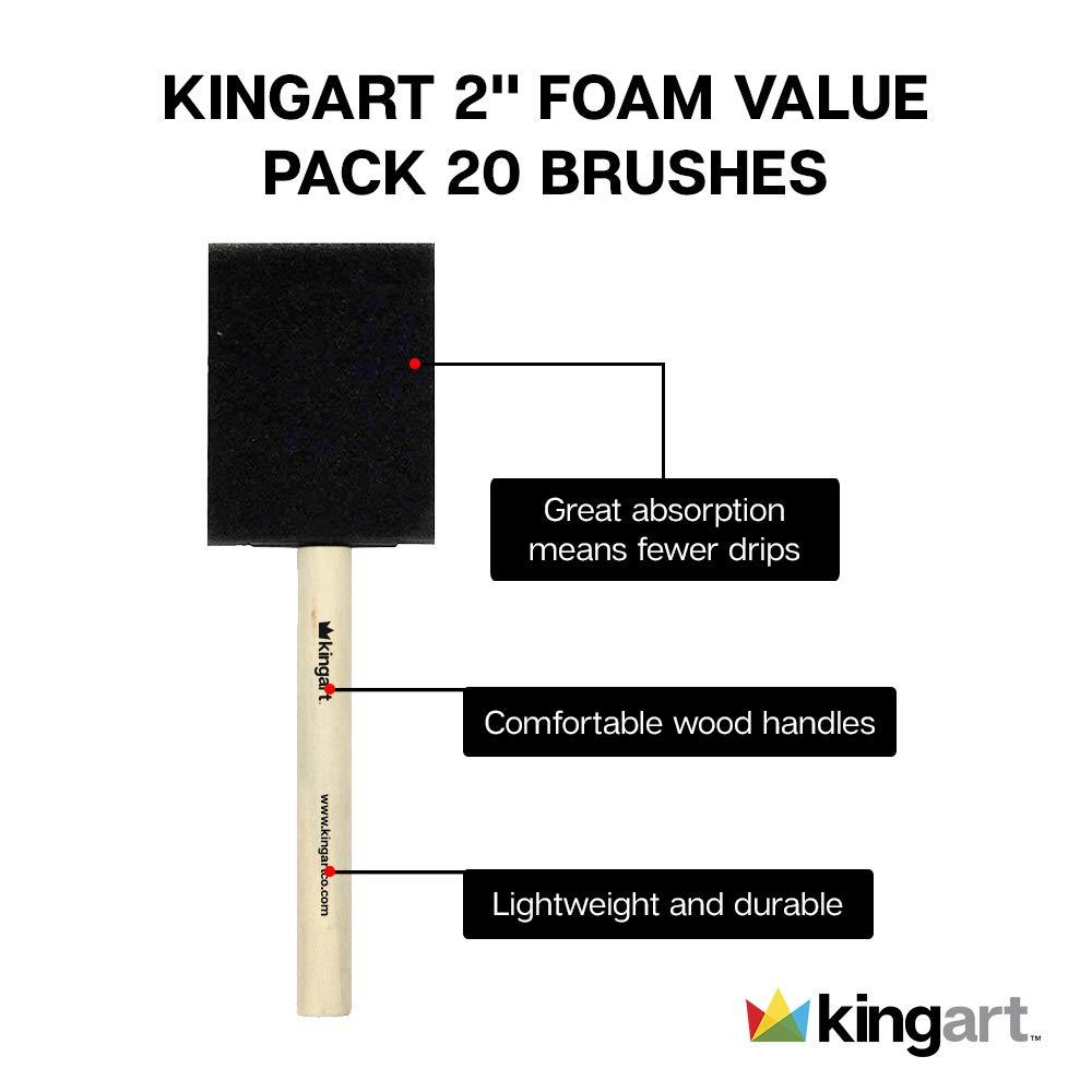 KINGART 2 Foam Brush Value Pack Set Of 20
